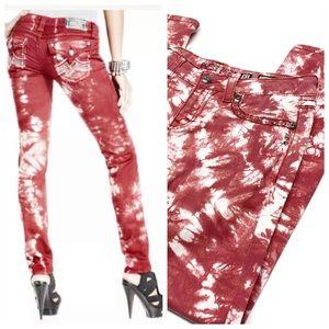 ۥ Miss Me Red Tie Dye Bling Skinny Jeans K26